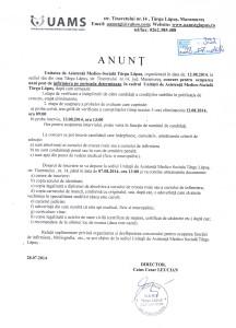 Concurs pentru  ocuparea unui post de infirmiera